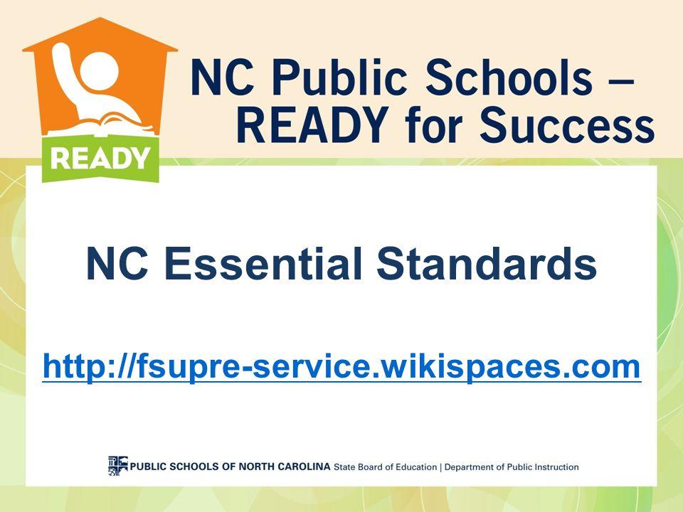 NC Essential Standards http://fsupre-service.wikispaces.com http://fsupre-service.wikispaces.com