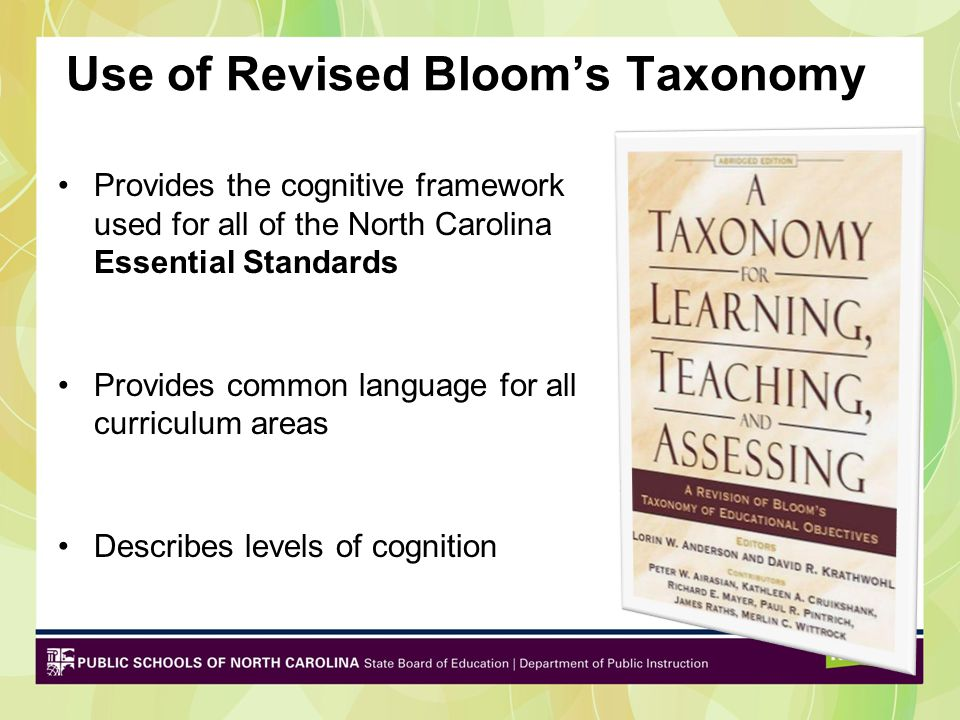 Use of Revised Bloom's Taxonomy Provides the cognitive framework used for all of the North Carolina Essential Standards Provides common language for all curriculum areas Describes levels of cognition