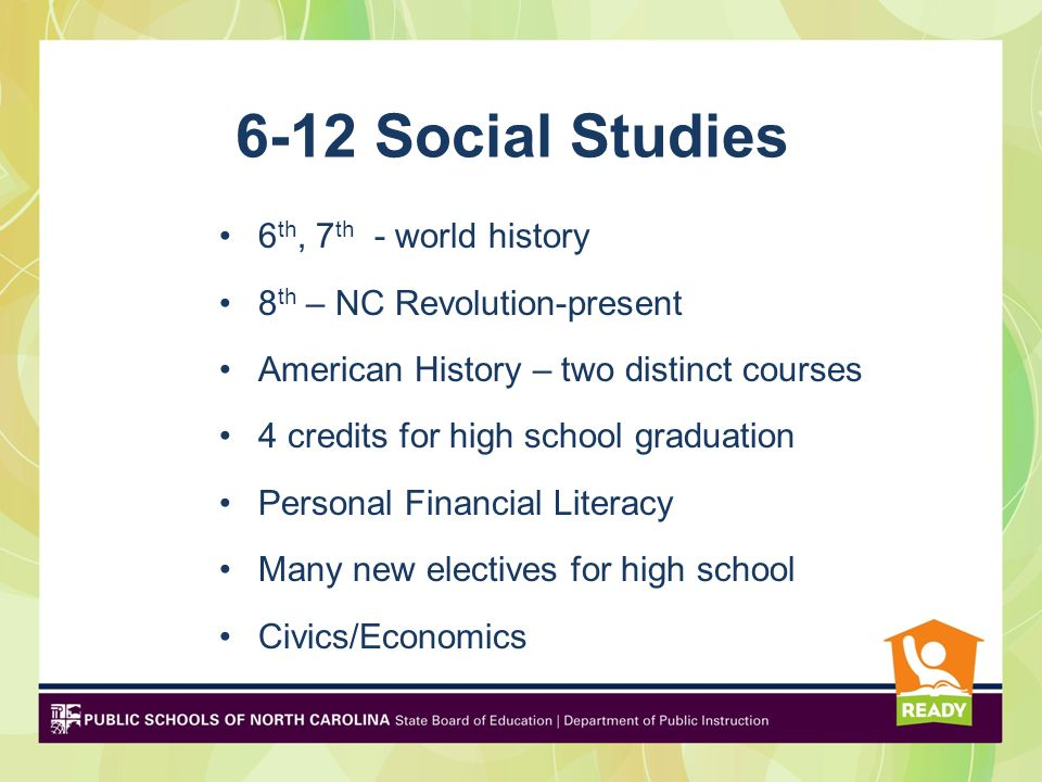 6-12 Social Studies 6 th, 7 th - world history 8 th – NC Revolution-present American History – two distinct courses 4 credits for high school graduation Personal Financial Literacy Many new electives for high school Civics/Economics