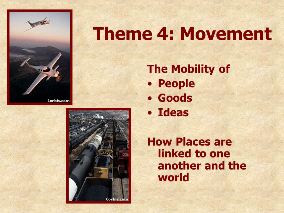Theme 4: Movement The Mobility of People Goods Ideas How Places are linked to one another and the world