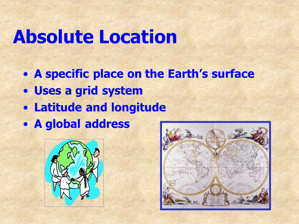 Absolute Location A specific place on the Earth's surface Uses a grid system Latitude and longitude A global address