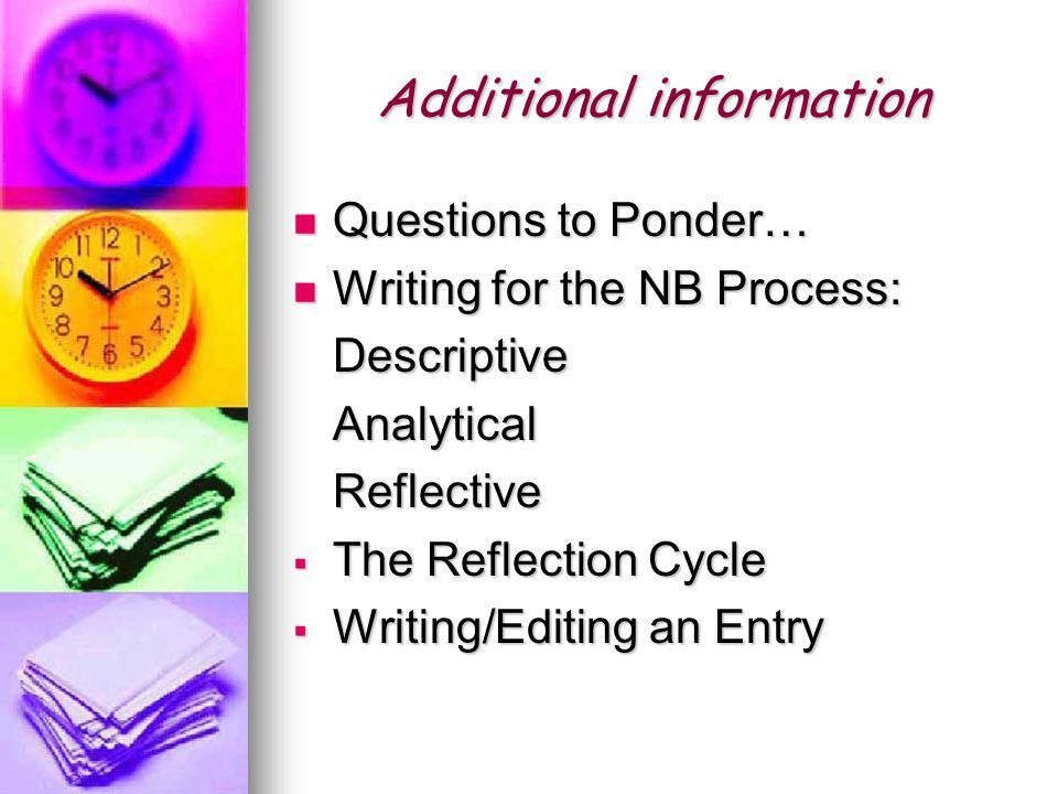 Additional information Questions to Ponder… Questions to Ponder… Writing for the NB Process: Writing for the NB Process:DescriptiveAnalyticalReflective  The Reflection Cycle  Writing/Editing an Entry