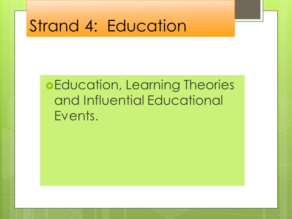 Strand 4: Education  Education, Learning Theories and Influential Educational Events.
