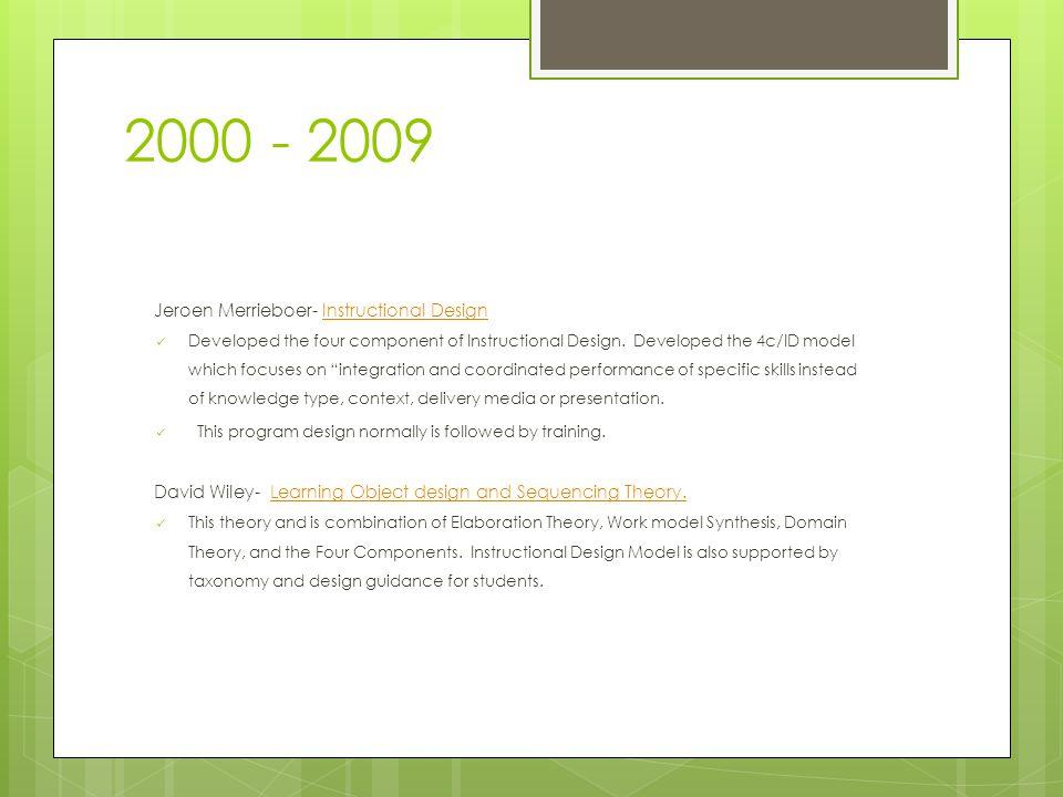 2000 - 2009 Jeroen Merrieboer- Instructional DesignInstructional Design Developed the four component of Instructional Design.