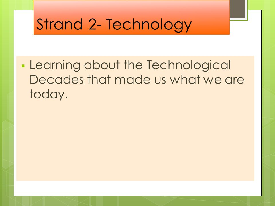 Strand 2- Technology  Learning about the Technological Decades that made us what we are today.