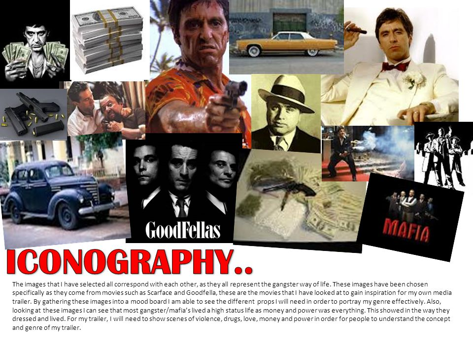 The images that I have selected all correspond with each other, as they all represent the gangster way of life.