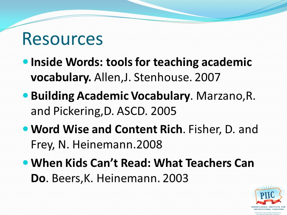 Resources Inside Words: tools for teaching academic vocabulary.
