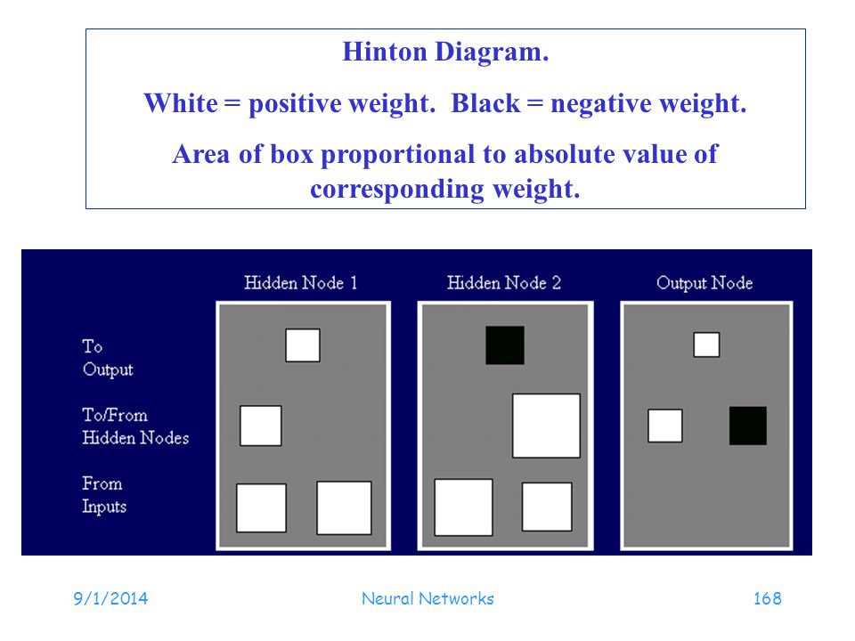 9/1/2014Neural Networks168 Hinton Diagram. White = positive weight. Black = negative weight. Area of box proportional to absolute value of correspondi
