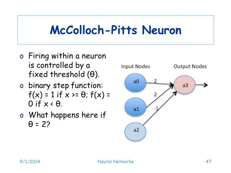 McColloch-Pitts Neuron oFiring within a neuron is controlled by a fixed threshold (θ). obinary step function: f(x) = 1 if x >= θ; f(x) = 0 if x < θ. o