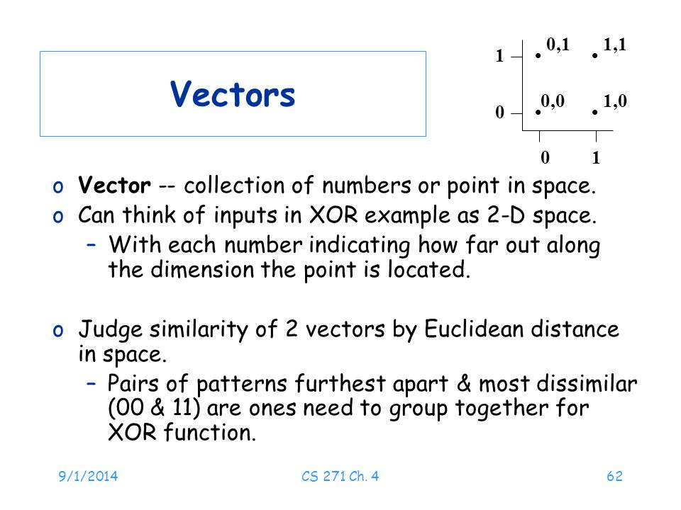9/1/2014CS 271 Ch. 462 Vectors oVector -- collection of numbers or point in space. oCan think of inputs in XOR example as 2-D space. –With each number