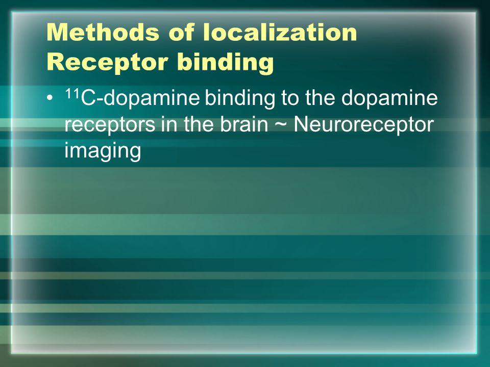 Methods of localization Receptor binding 11 C-dopamine binding to the dopamine receptors in the brain ~ Neuroreceptor imaging