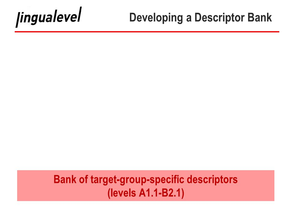 Developing a Descriptor Bank Bank of target-group-specific descriptors (levels A1.1-B2.1)