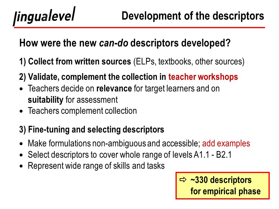 How were the new can-do descriptors developed.
