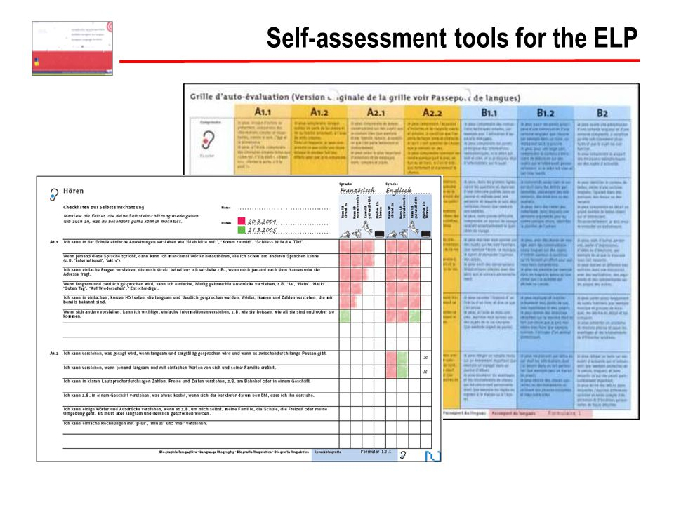 Self-assessment tools for the ELP