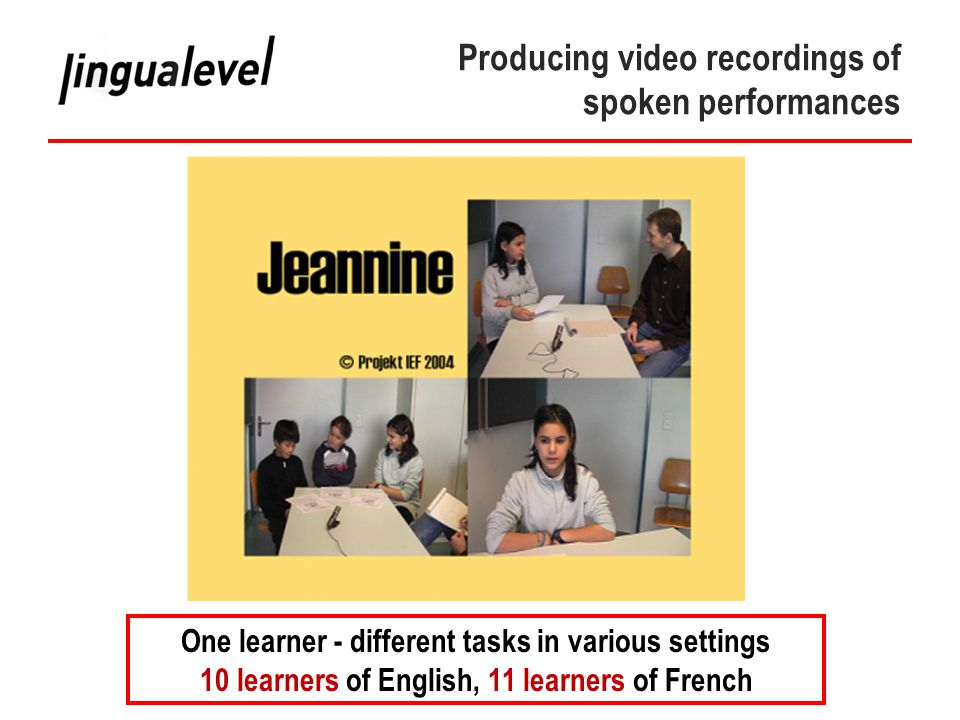 Phase IV Producing video recordings of spoken performances One learner - different tasks in various settings 10 learners of English, 11 learners of French
