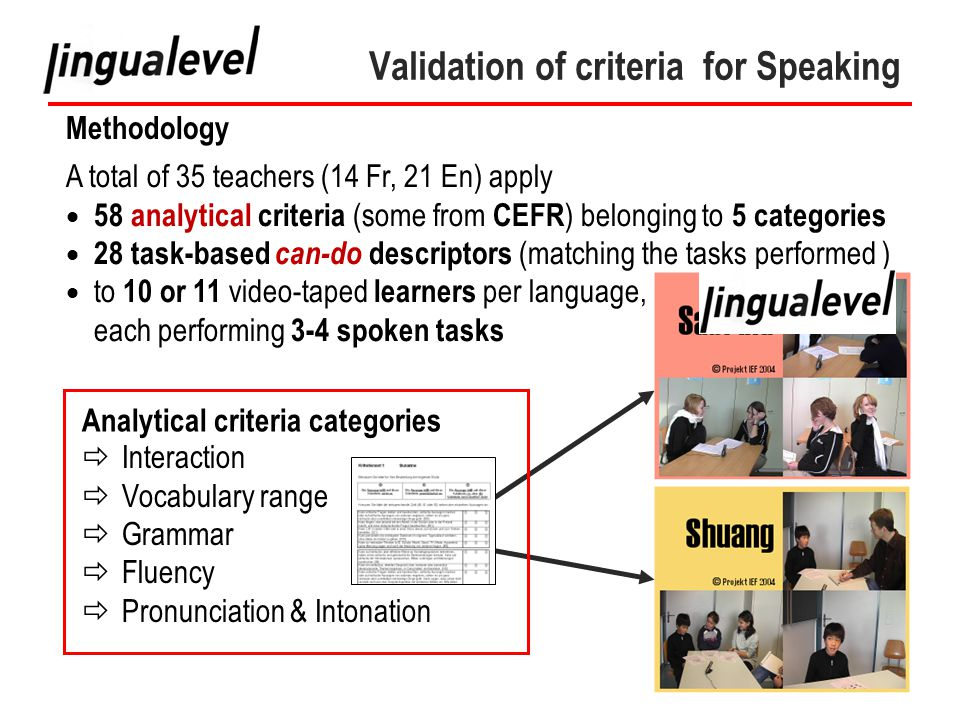 33 Validation of criteria for Speaking Methodology A total of 35 teachers (14 Fr, 21 En) apply  58 analytical criteria (some from CEFR ) belonging to 5 categories  28 task-based can-do descriptors (matching the tasks performed )  to 10 or 11 video-taped learners per language, each performing 3-4 spoken tasks Analytical criteria categories  Interaction  Vocabulary range  Grammar  Fluency  Pronunciation & Intonation