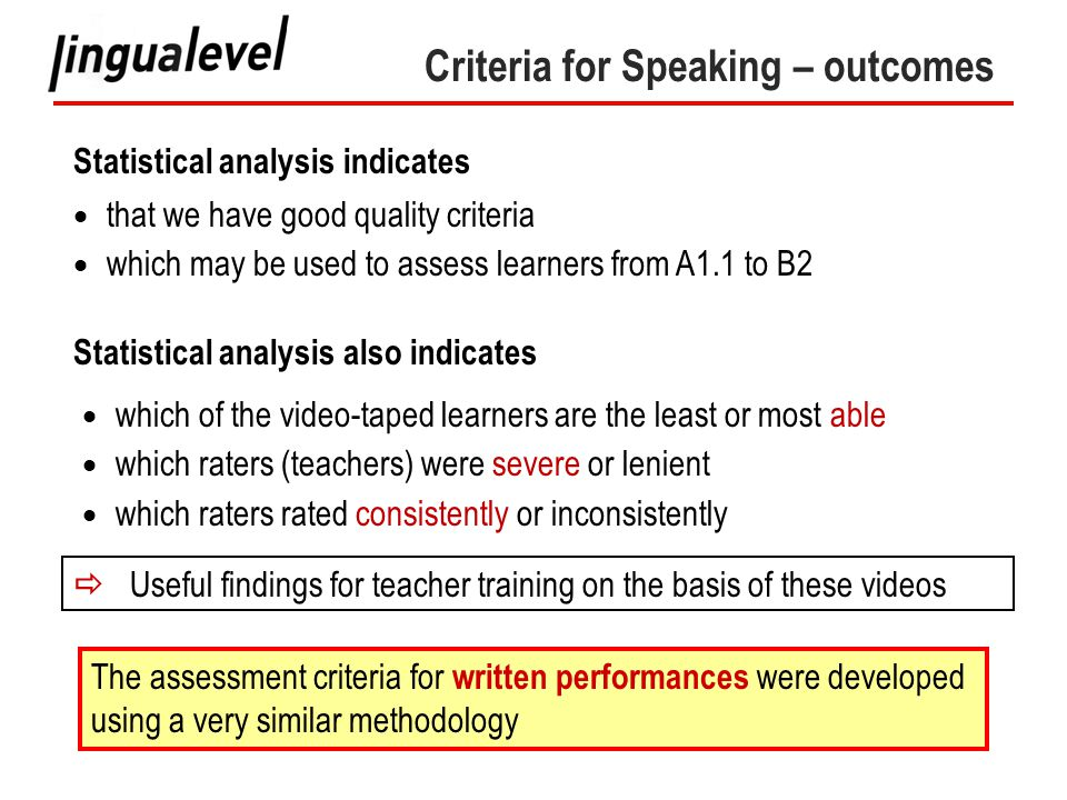 Criteria for Speaking – outcomes Statistical analysis indicates  that we have good quality criteria  which may be used to assess learners from A1.1 to B2 Statistical analysis also indicates  which of the video-taped learners are the least or most able  which raters (teachers) were severe or lenient  which raters rated consistently or inconsistently  Useful findings for teacher training on the basis of these videos The assessment criteria for written performances were developed using a very similar methodology