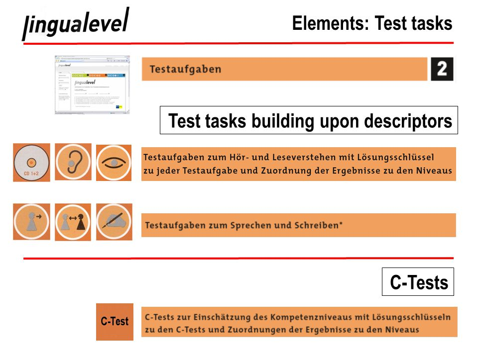 Elements: Test tasks Test tasks building upon descriptors C-Tests