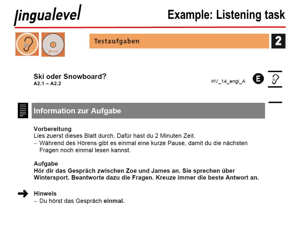 Example: Listening task
