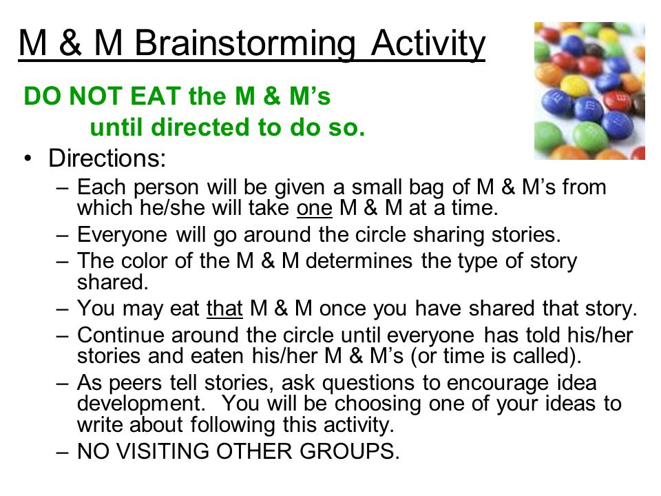 M & M Brainstorming Activity DO NOT EAT the M & M's until directed to do so.
