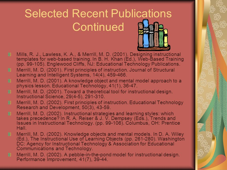 Selected Recent Publications Merrill, M. David and the ID2 Research Group.