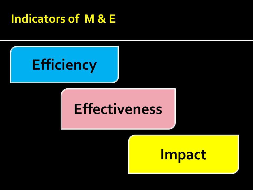 Indicators of M & E Efficiency Effectiveness Impact