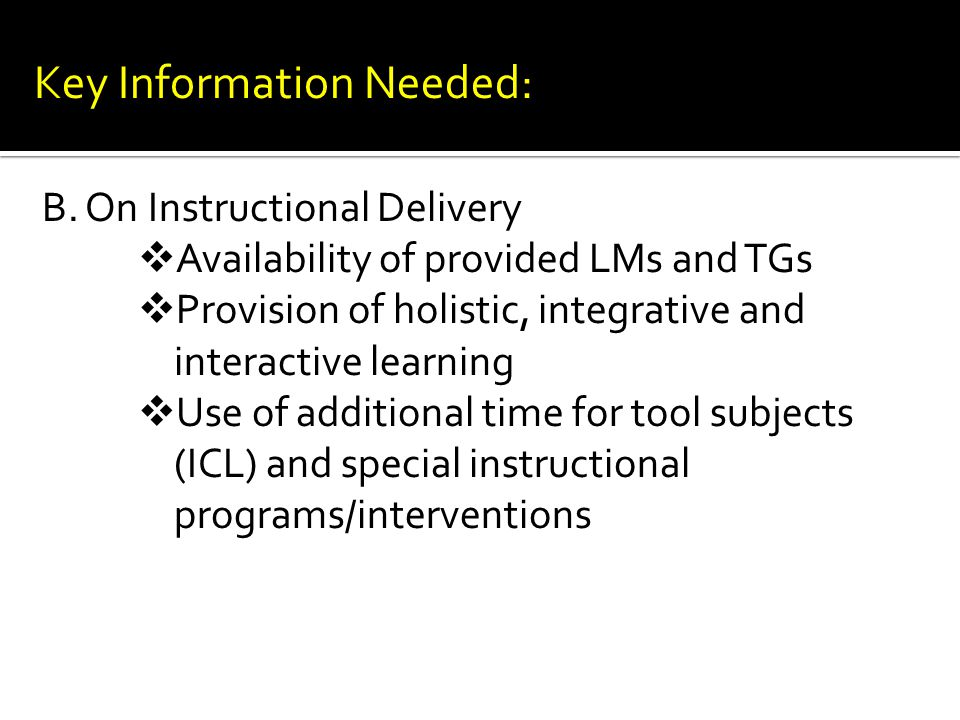 B. On Instructional Delivery  Availability of provided LMs and TGs  Provision of holistic, integrative and interactive learning  Use of additional