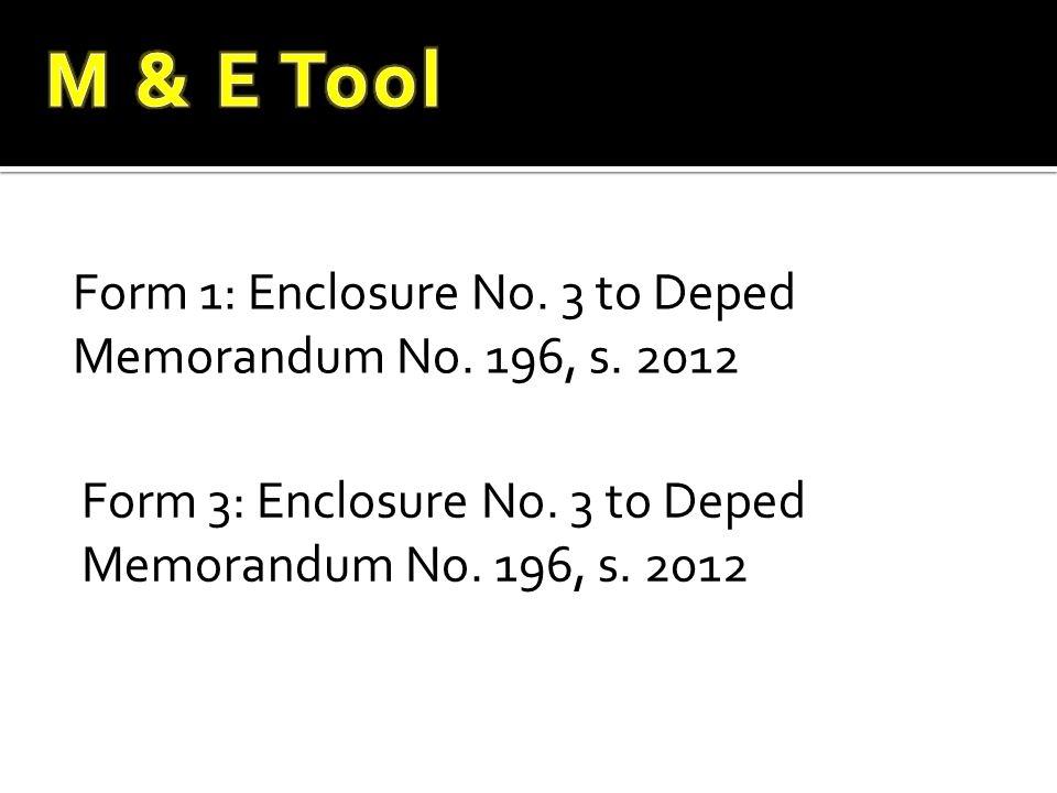 Form 1: Enclosure No. 3 to Deped Memorandum No. 196, s. 2012 Form 3: Enclosure No. 3 to Deped Memorandum No. 196, s. 2012