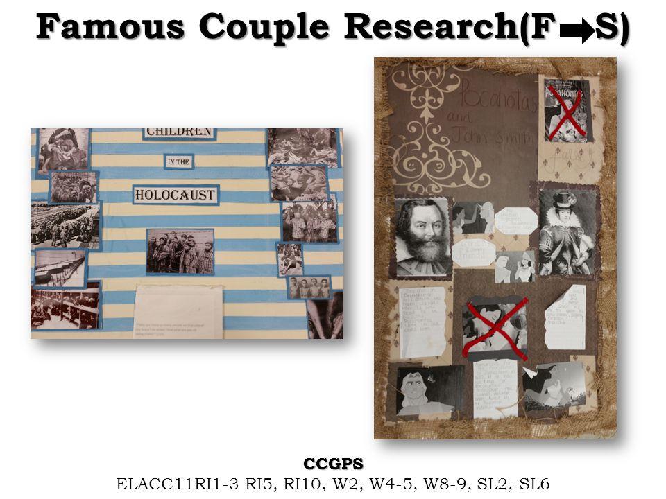 Famous Couple Research(F S) CCGPS ELACC11RI1-3 RI5, RI10, W2, W4-5, W8-9, SL2, SL6