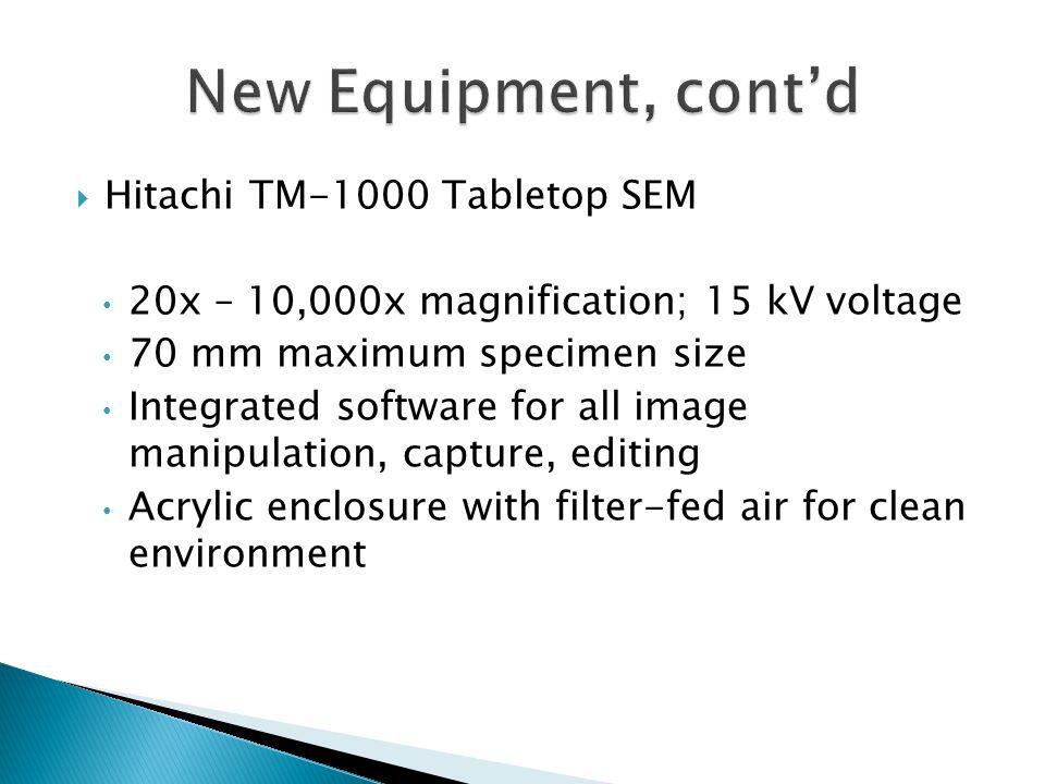  Hitachi TM-1000 Tabletop SEM 20x – 10,000x magnification; 15 kV voltage 70 mm maximum specimen size Integrated software for all image manipulation,