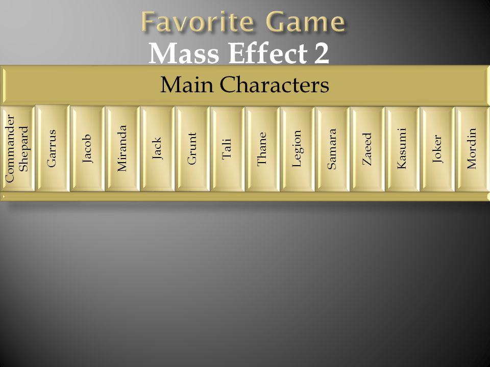 Main Characters Commander Shepard Garrus Jacob Miranda Jack Grunt Tali Thane Legion Samara Zaeed Kasumi Joker Mordin Mass Effect 2