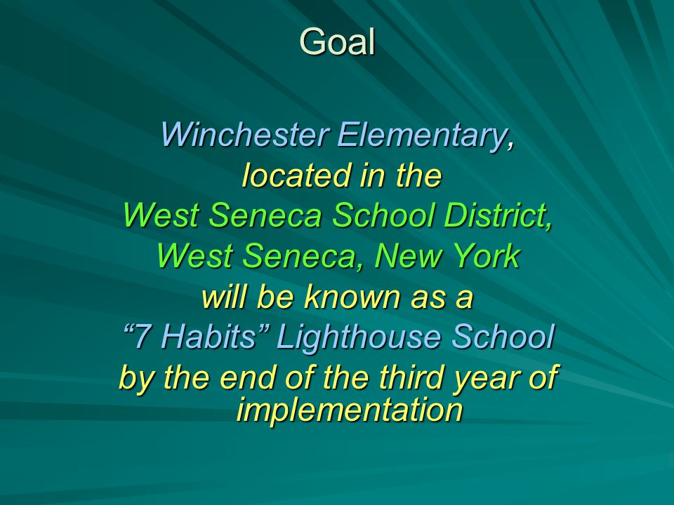 Goal Winchester Elementary, located in the located in the West Seneca School District, West Seneca, New York will be known as a 7 Habits Lighthouse School by the end of the third year of implementation