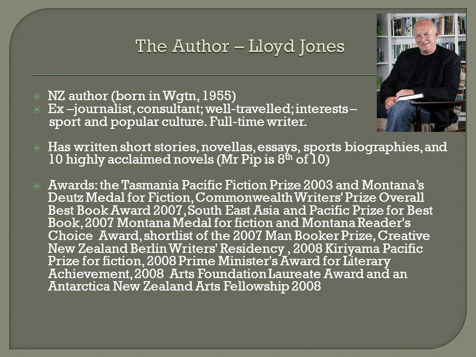  NZ author (born in Wgtn, 1955)  Ex –journalist, consultant; well-travelled; interests – sport and popular culture.