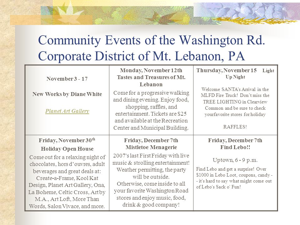Community Events of the Washington Rd. Corporate District of Mt.