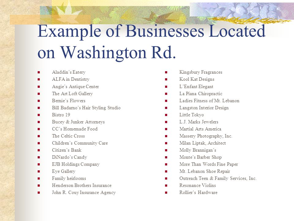 Example of Businesses Located on Washington Rd.