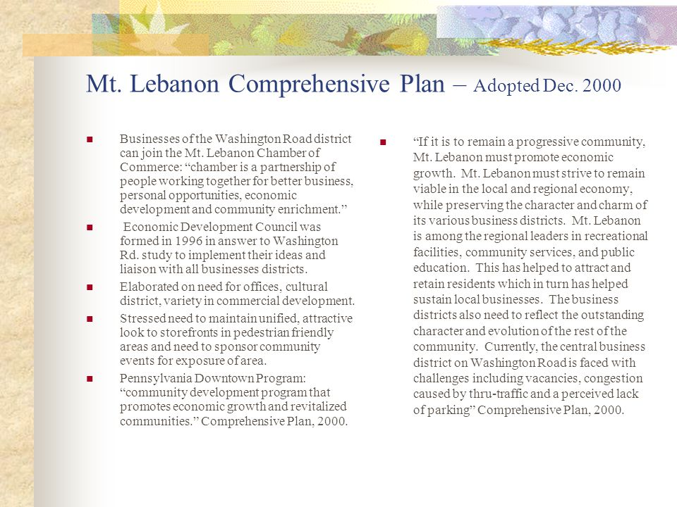 Mt. Lebanon Comprehensive Plan – Adopted Dec.
