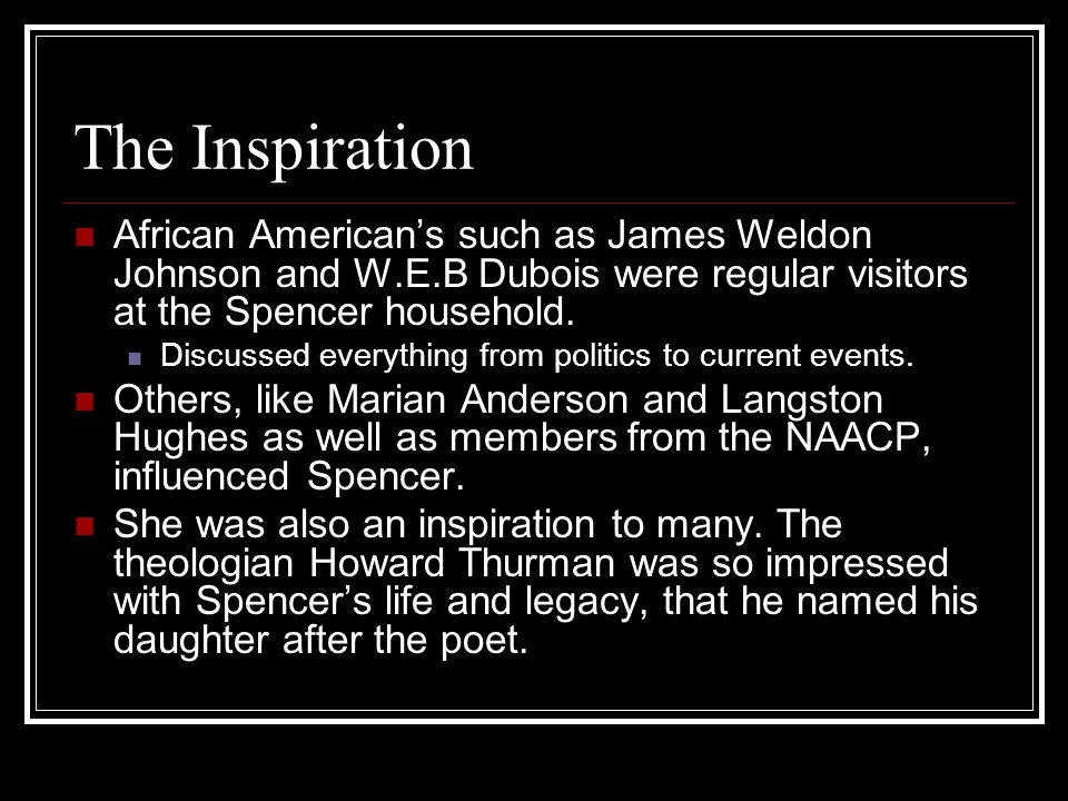 The Inspiration African American's such as James Weldon Johnson and W.E.B Dubois were regular visitors at the Spencer household. Discussed everything