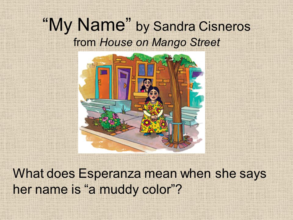 """""""My Name"""" by Sandra Cisneros from House on Mango Street What does Esperanza mean when she says her name is """"a muddy color""""?"""