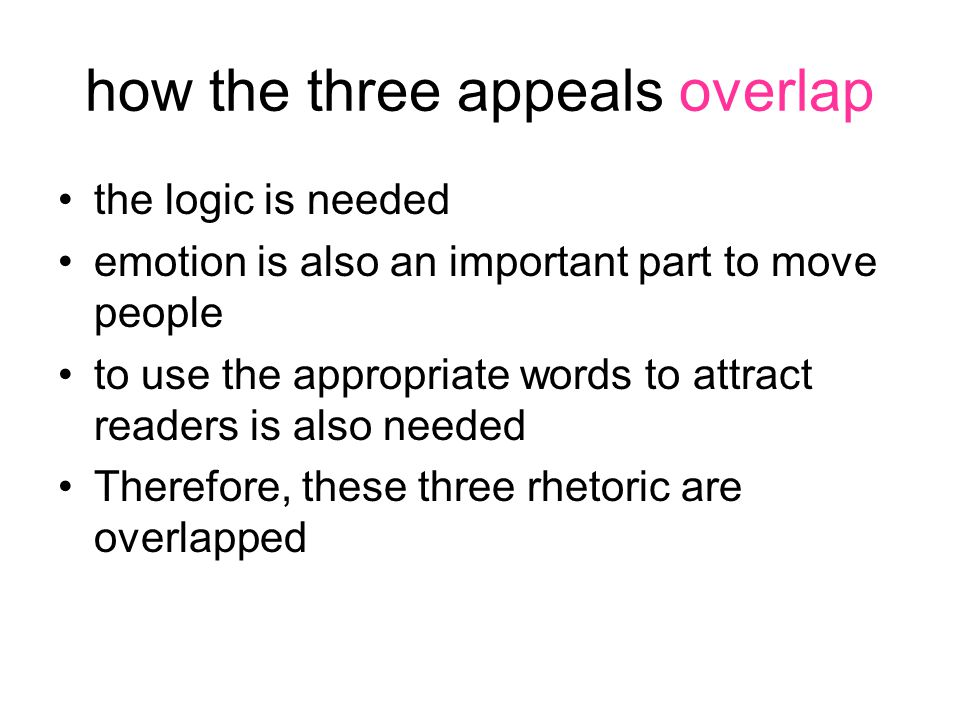 how the three appeals overlap the logic is needed emotion is also an important part to move people to use the appropriate words to attract readers is also needed Therefore, these three rhetoric are overlapped
