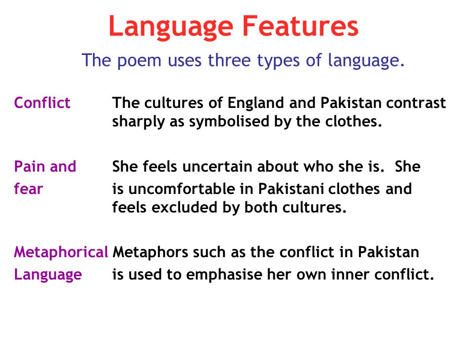 Language Features Conflict The cultures of England and Pakistan contrast sharply as symbolised by the clothes. Pain and She feels uncertain about who