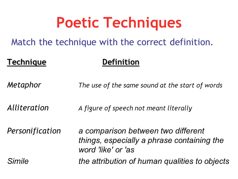 Poetic Techniques Technique Definition Metaphor The use of the same sound at the start of words Alliteration A figure of speech not meant literally Pe