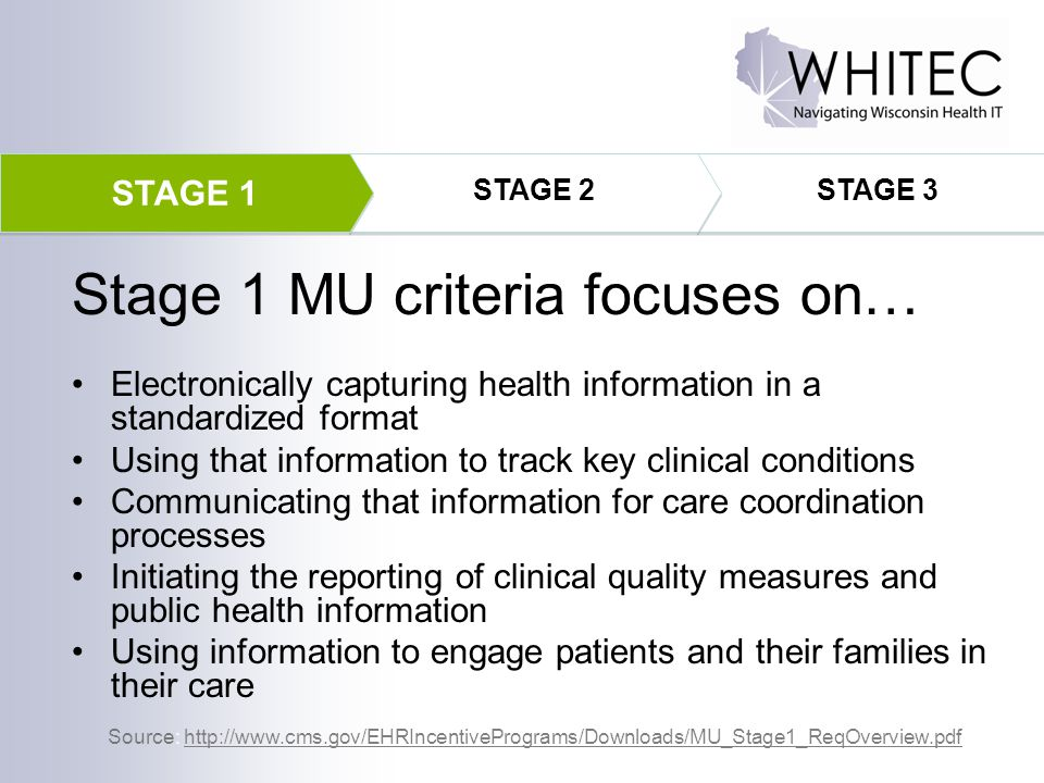 Electronically capturing health information in a standardized format Using that information to track key clinical conditions Communicating that inform