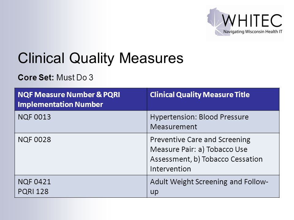 Clinical Quality Measures Core Set: Must Do 3 NQF Measure Number & PQRI Implementation Number Clinical Quality Measure Title NQF 0013Hypertension: Blo