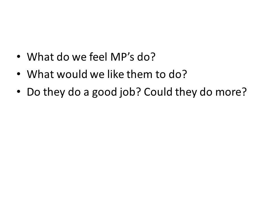 What do we feel MP's do? What would we like them to do? Do they do a good job? Could they do more?