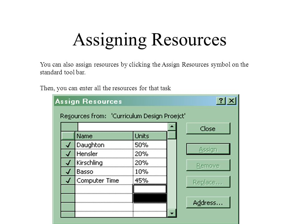 Assigning Resources You can also assign resources by clicking the Assign Resources symbol on the standard tool bar. Then, you can enter all the resour