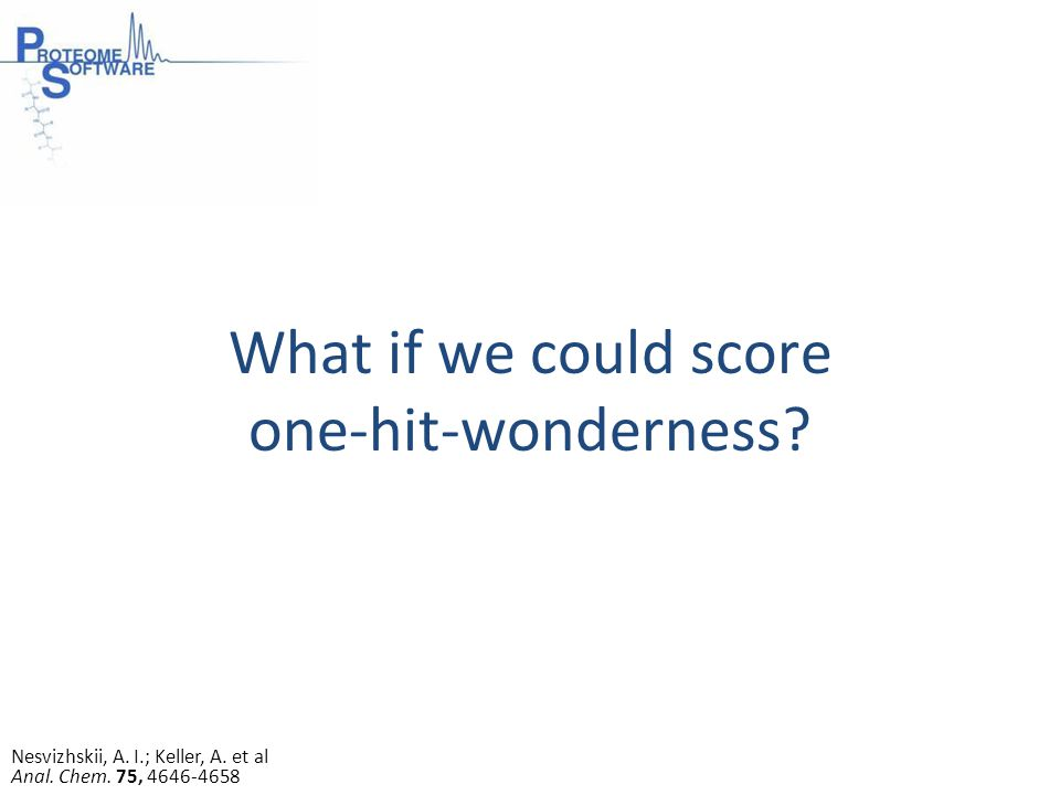 What if we could score one-hit-wonderness. Nesvizhskii, A.