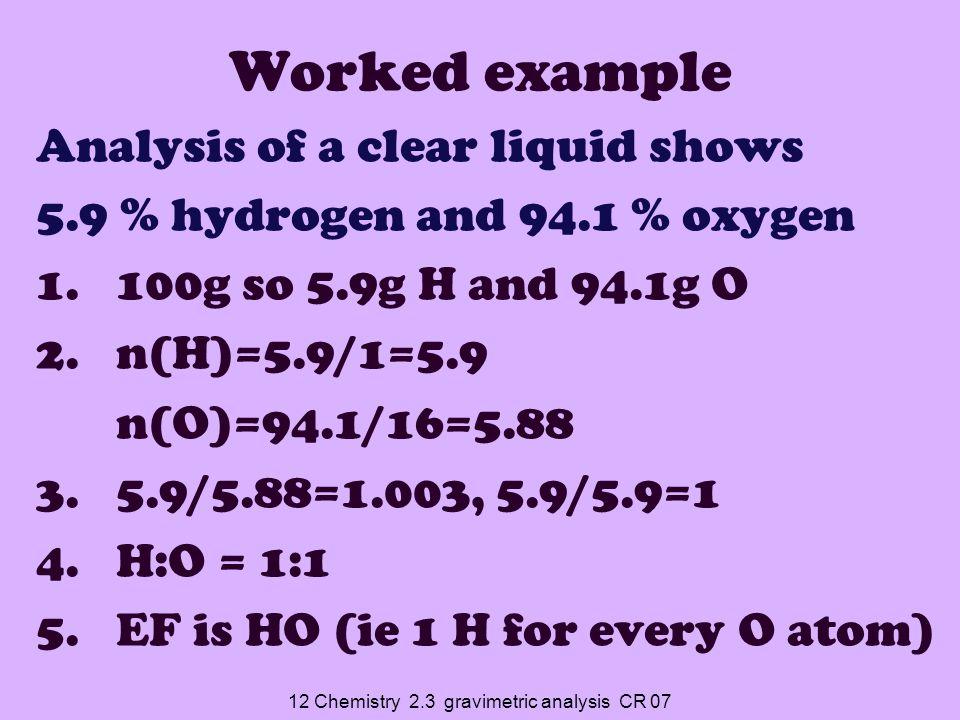 12 Chemistry 2.3 gravimetric analysis CR 07 EF is HO Possible molecular formula (actual ratio of atoms) are: HO, H 2 O 2, H 3 O 3… Molar mass17, 34, 51