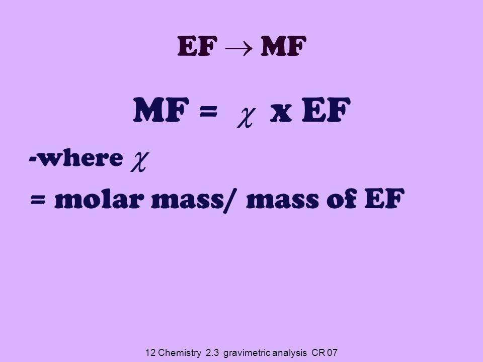 12 Chemistry 2.3 gravimetric analysis CR 07 EF  MF MF =  x EF -where  = molar mass/ mass of EF