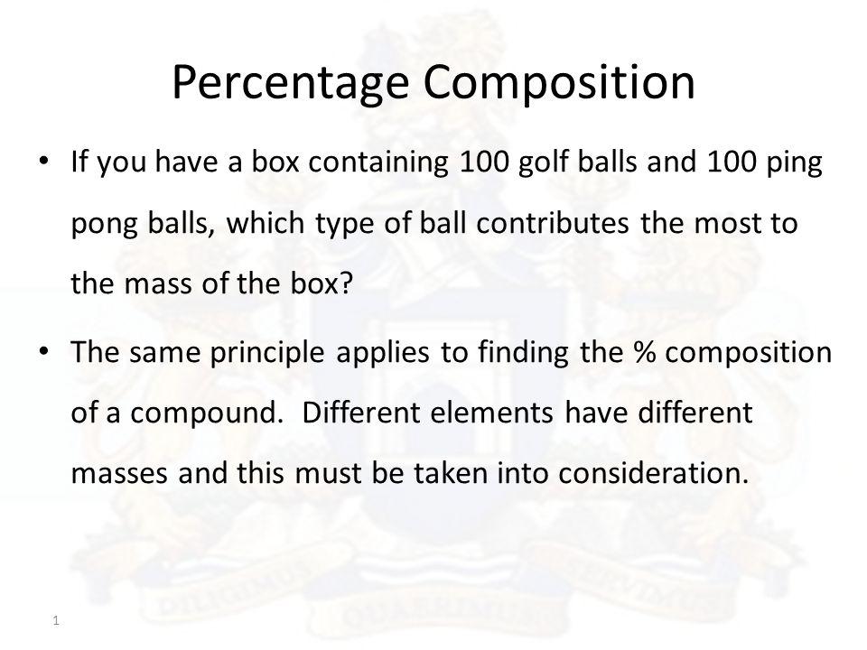 Agenda Day 52 - Percent Composition Lesson: PPT- Percent Composition Handouts: 1.
