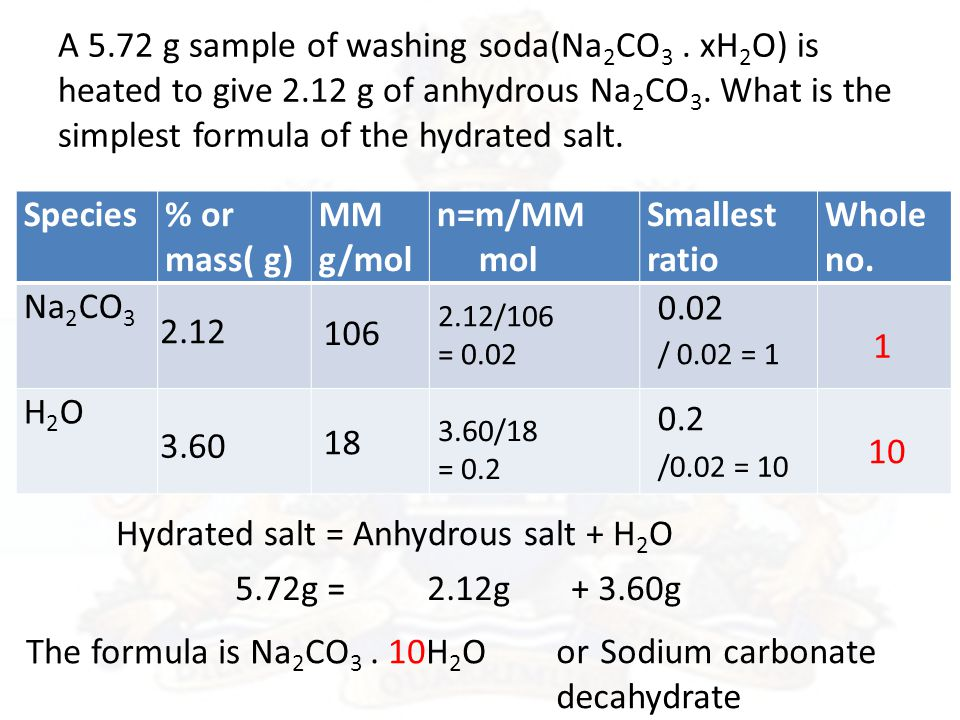 A 5.72 g sample of washing soda(Na 2 CO 3. xH 2 O) is heated to give 2.12 g of anhydrous Na 2 CO 3.